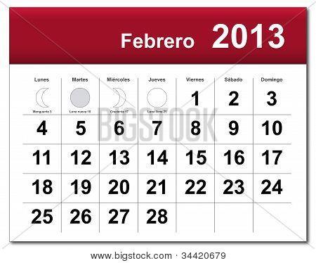Spanish Version Of February 2013 Calendar
