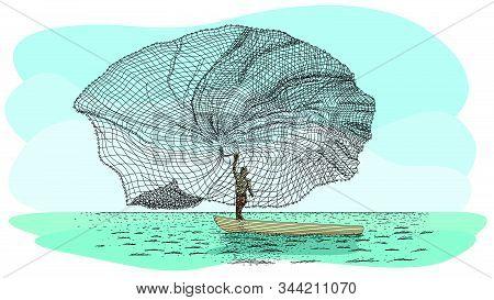 Artisanal Fishing Technique In River Called Atarraya - Fishing Net In Spanish Language: Silhouette O