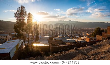 City of Potosi as seen from the mountain of Cerro Rico at sunset, Bolivia
