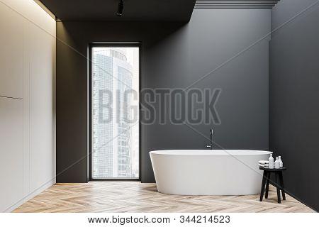 Gray And White Loft Bathroom Interior With Tub
