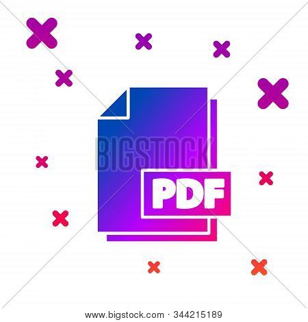 Color Pdf File Document. Download Pdf Button Icon Isolated On White Background. Pdf File Symbol. Gra