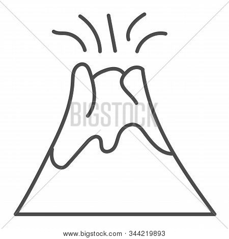Volcano Thin Line Icon. Magma Erupting Vector Illustration Isolated On White. Nature Outline Style D
