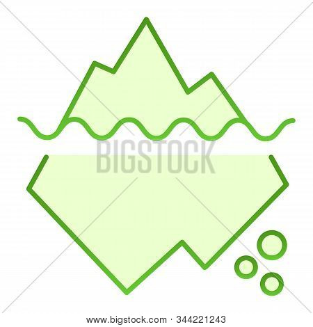 Iceberg In Water Flat Icon. Berg Green Icons In Trendy Flat Style. Antarctic Landscape Gradient Styl