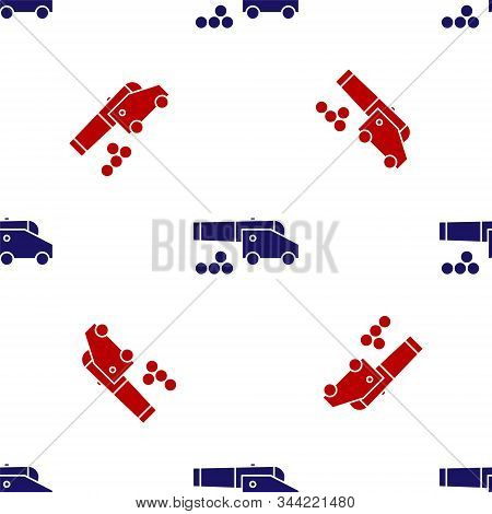 Blue And Red Cannon With Cannonballs Icon Isolated Seamless Pattern On White Background. Medieval We