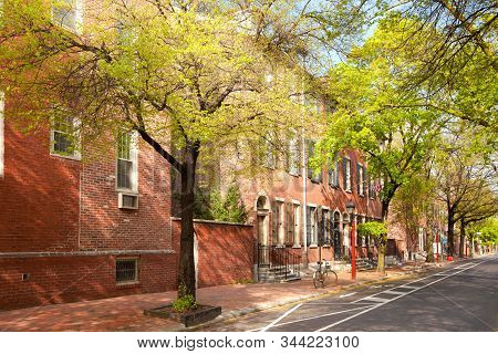 Neighborhood With Traditional Brick Houses, Old City Cultural District, Philadelphia, Pennsylvania,