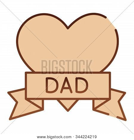 Tatoo With Dad Inscription Flat Icon. Heart Tatoo Baloons Brown Icons In Trendy Flat Style. Love Fat