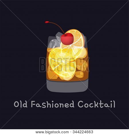 Tasty Alcoholic Old Fashioned Cocktail With Orange Slice, Cherry, And Lemon Peel Garnish With Ice Cu