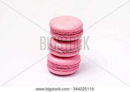 French Strawberry Macarons Three Pastel Macarons On White Background Pink Macarons Horizontal
