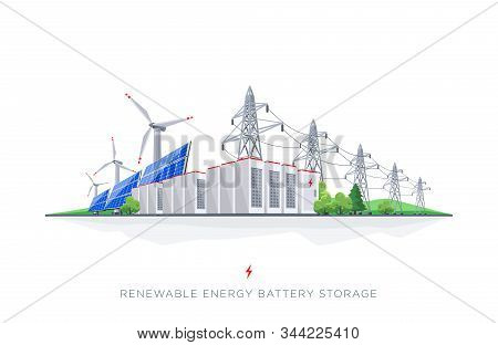 Renewable Solar And Wind Energy Electricity Battery Storage Grid System With Power Lines