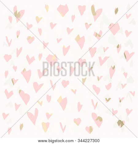 Trendy Chic Valentines Day Retro Textured Background With Gold Dusty Patina