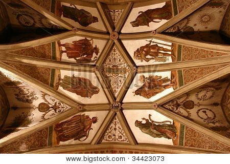 A dom roof with a middle ages mural