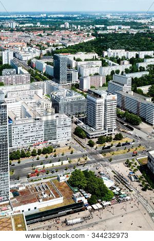 BERLIN, GERMANY - MAY 24, 2018: Aerial view of the Eastern section of the Mitte district in Berlin, Germany, formerly part of the Soviet sector of Berlin, known as East Berlin