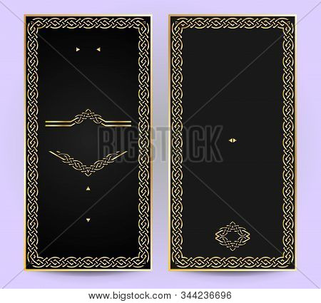 Invitation In Vintage Or Retro Style Frame And Label Elements. For Packaging, Design Of Luxury Produ
