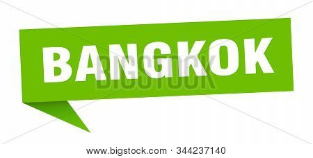 Bangkok Sticker. Green Bangkok Signpost Pointer Sign