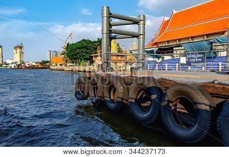 Bangkok, Thailand - December 8, 2015: Route Of Chao Phraya Express Boat, Approach To The Kiak Kai Pi