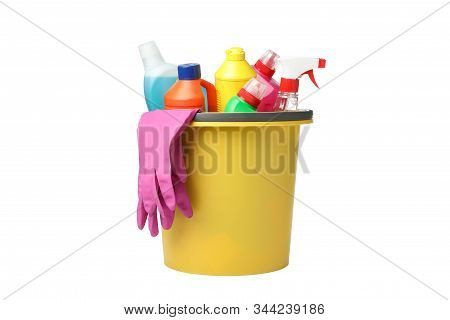 Bucket With Detergent And Cleaning Supplies Isolated On White Background