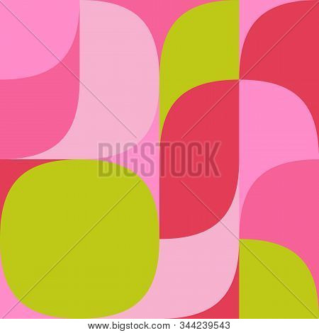 Geometric Multicolored Pattern Of Simple Shapes. Minimalistic Abstract Background. Fashionable Print