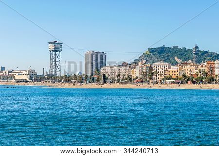Barcelona, Spain - November 2, 2019: Port Vell Aerial Tramway With Its Two Towers, A Free Standing L
