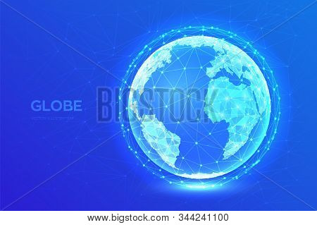 Earth Globe Illustration. Abstract Polygonal Planet. Low Poly Design. Global Network Connection. Blu