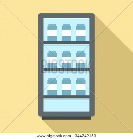 Milk Fridge Icon. Flat Illustration Of Milk Fridge Vector Icon For Web Design