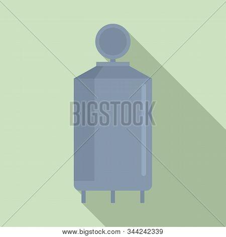 Milk Factory Cistern Icon. Flat Illustration Of Milk Factory Cistern Vector Icon For Web Design