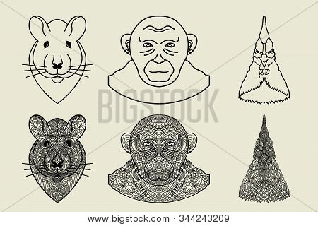 Ornamental Ethnic Patterned Heads Of Animals Set. Rat, Monkey And Rooster. Abstract Card With Hand D