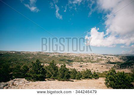 Landscape of Crimea, Russia. Panoramic view of Crimea near Alupka Town. Southern coast of Crimea.