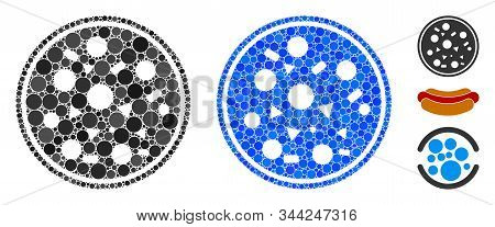 Entire Pizza Composition Of Round Dots In Various Sizes And Color Tints, Based On Entire Pizza Icon.