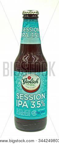 Boekelo, The Netherlands - Januari 10, 2019: Bottle Of Grolsch Session Ipa Beer.