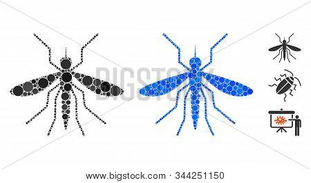 Mosquito Mosaic Of Small Circles In Variable Sizes And Color Tones, Based On Mosquito Icon. Vector R