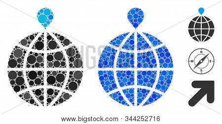 North Pole Composition Of Round Dots In Variable Sizes And Color Tints, Based On North Pole Icon. Ve