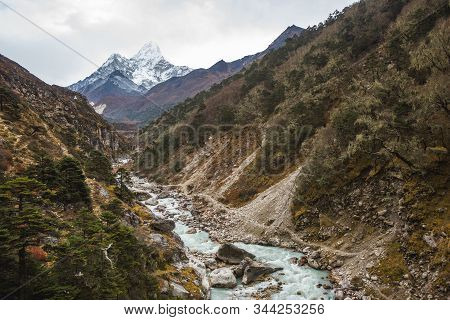 Bhote River And Ama Dablam Mount. Nepal, Sagarmatha National Park