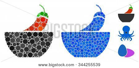 Spicy Food Mosaic Of Filled Circles In Various Sizes And Color Hues, Based On Spicy Food Icon. Vecto