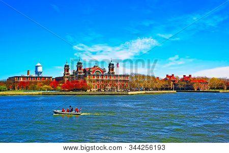 View On Boat And Ellis Island Reflex