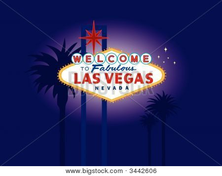Illustration of a famous landmark that welcomes visitors as they enter Las Vegas. Fully editable file with palm trees on a separate layer for easy removal. poster