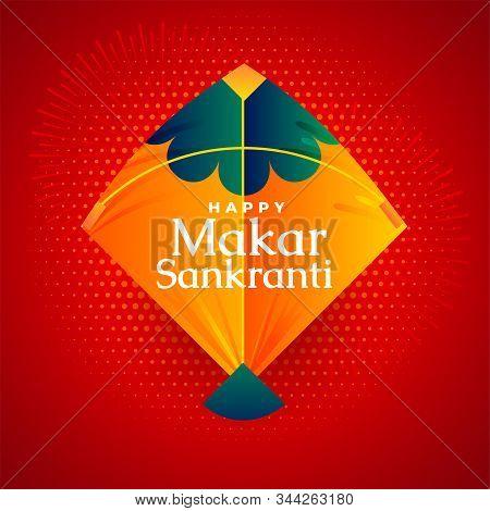 Happy Makar Sankranti Festival Kite On Red Background