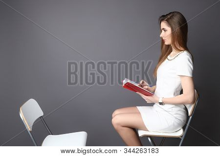 Hr Interviewing An Empty Office Chair, Side View.