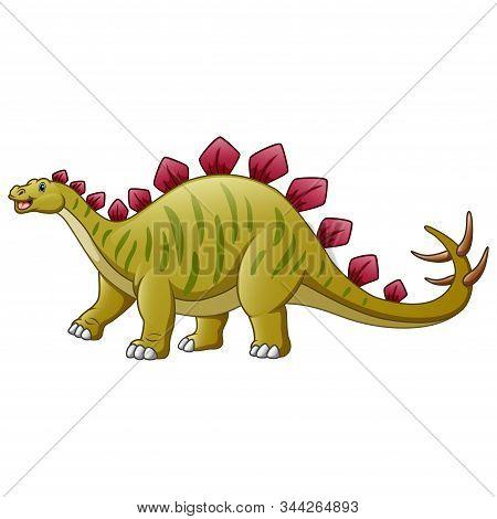 A Stegosaurus Cartoon Isolated On White Background