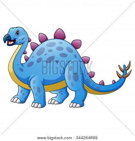 Cute Stegosaurus Cartoon Isolated On White Background