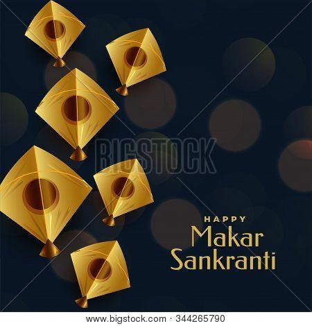 Happy Makar Sankranti Festival Greeting With Golden Kite