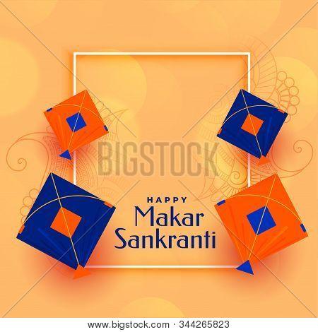 Elegant Makar Sankranti Kites Background With Text Space