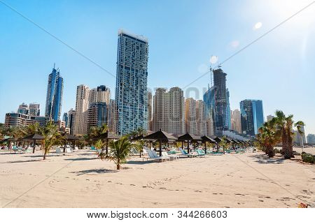 Dubai, United Arab Emirates - December 21, 2019: Dubai Marina And Jumeirah Beach. Landscape With Con