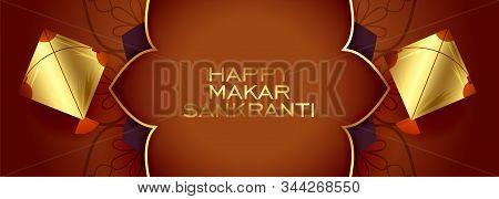 Happy Makar Sankranti Premium Golden Festival Banner
