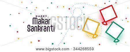 Happy Makar Sankranti Kites Festival Banner Design