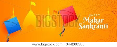 Hindu Makar Sankranti Festival Banner With Kite And Temple