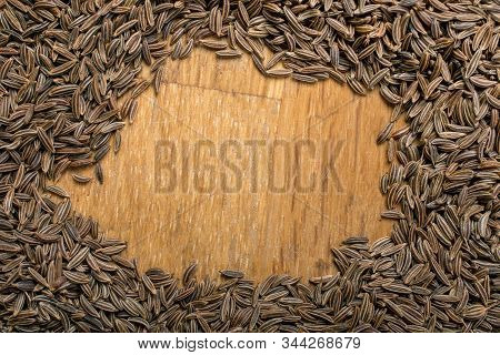 Caraway ,cumin Seeds Top View, Dried Caraway Texture, Background With Copyspace, Close Up.