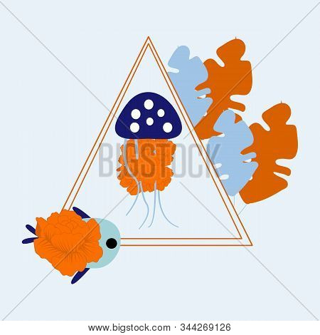 Vector Illustration With Dark Blue Jellyfish And Colorful Maritime Leaves