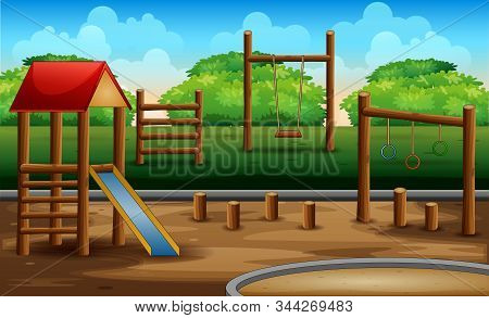 The Wooden Plaground Kid At Nature Background