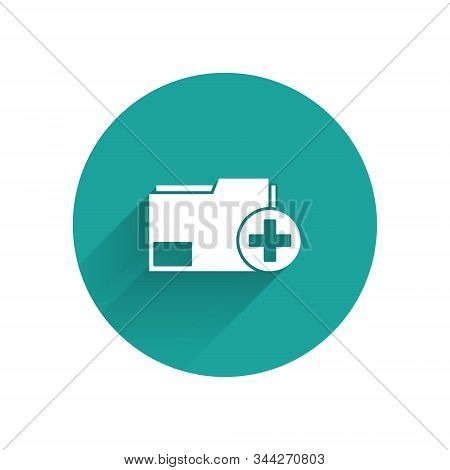 White Add New Folder Icon Isolated With Long Shadow. New Folder File. Copy Document Icon. Add Attach