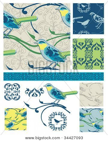 Bright Modern seamless bird vector patterns and icons.  Great for textile projects or as digital paper or wallpaper.